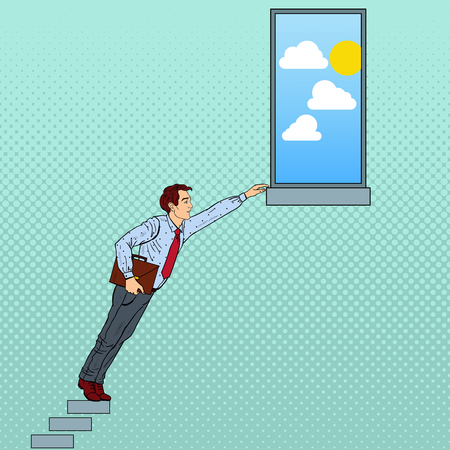uphill: Pop Art Businessman Hard Trying to Reach the Goal. Vector illustration