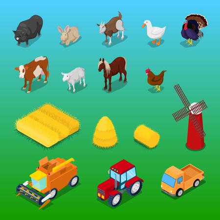 Isometric Farm Animals and Agricultural Transportation. Vector 3d flat illustration Illustration