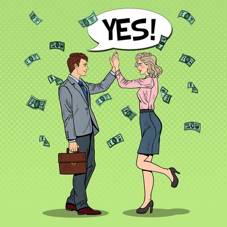 Pop Art zakenman geven High Five aan zakenvrouw. Geld vallen. Vector illustratie