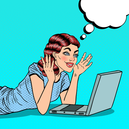 Pop Art Happy Beautiful Woman with Laptop at Home. Vector illustration Иллюстрация