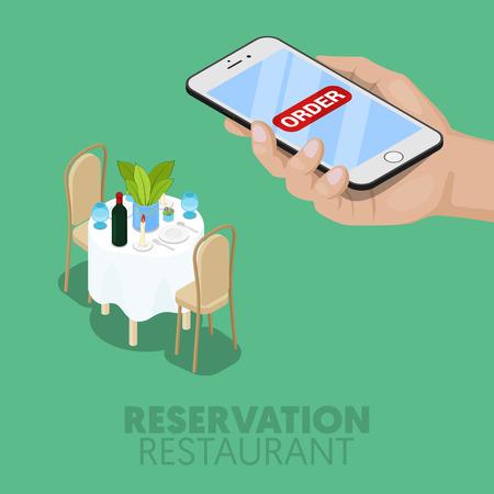 restaurant table: Isometric Online Reservation of Restaurant Table. 3d Flat Vector Illustration