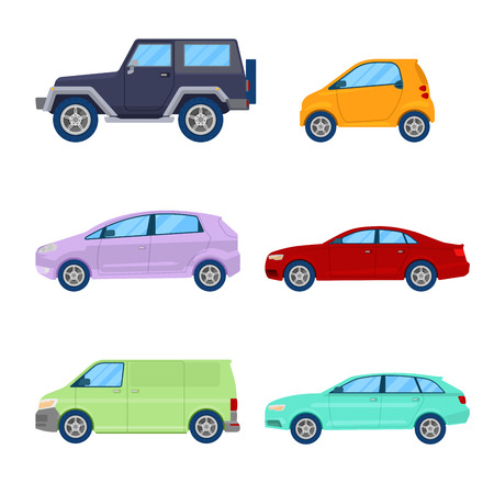 City Cars Icons Set with Sedan, Van and Offroad Vehicle. Vector illustration Illustration