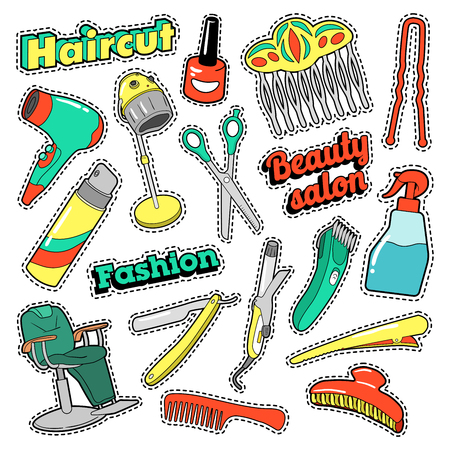 Hair Beauty Salon Patches, Badges, Stickers with Scissors and Comb. Vector Doodle