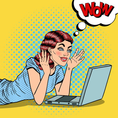 computer art: Pop Art Happy Beautiful Woman with Laptop at Home. Vector illustration Illustration