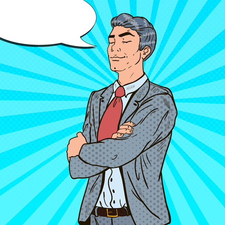 Pop Art Successful Businessman with His Eyes Closed. Vector illustration Illustration
