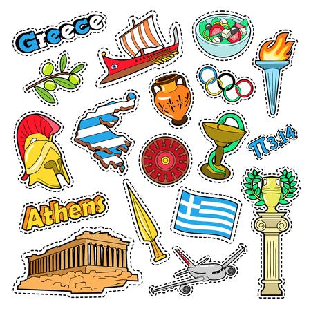 Elementos de viaje de Grecia con arquitectura y fuego olímpico. Vector Doodle