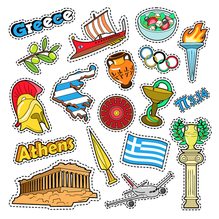 Greece Travel Elements with Architecture and Olimpic Fire. Vector Doodle Illustration