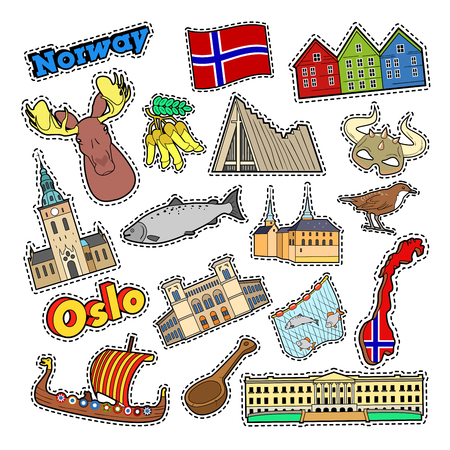 Norway Travel Elements with Architecture and Viking. Vector Doodle