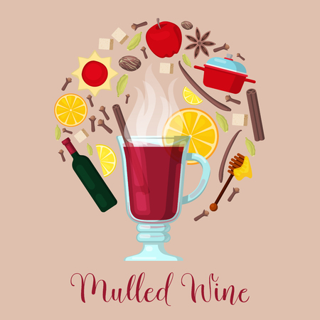 Mulled Wine with Cinnamon Stick, Orange and Ingredients. Vector illustration