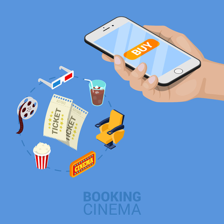 Isometric Online Ordering Cinema Tickets with Cellphone. Vector 3d flat illustration Illustration