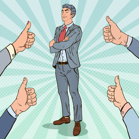 Pop Art Confident Businessman and Hands Showing Thumbs Up. Vector illustration