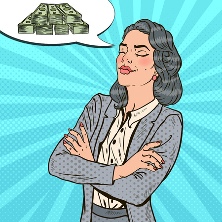 Pop Art Successful Business Woman Dreaming About Money. Vector illustration