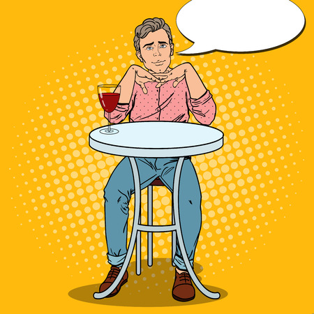 Pop Art Handsome Man in Love with Glass of Wine. Vector illustration