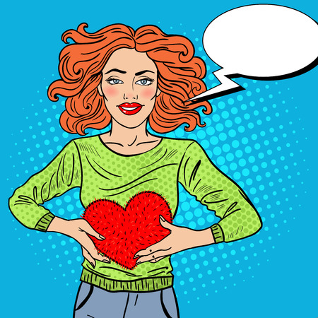 Pop Art Beautiful Woman in Love with Plush Heart. Vector illustration