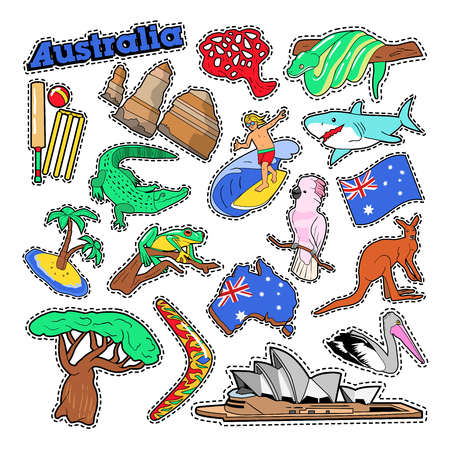 Australia Travel Elements with Architecture and Animals. Vector Doodle Illustration