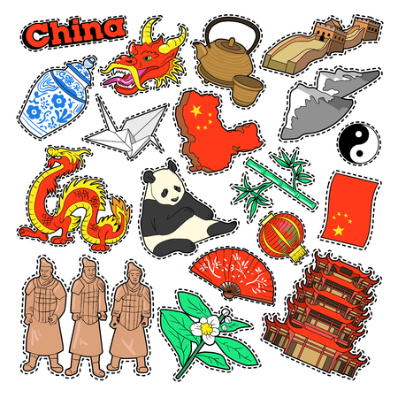 China Travel Elements with Architecture and Panda. Vector Doodle