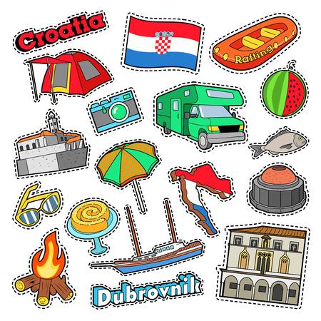 建築や船を持つクロアチア旅行要素。ベクトル落書き  イラスト・ベクター素材