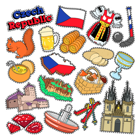 Czech Republic Travel Elements with Architecture and Traditional Food. Vector Doodle 向量圖像