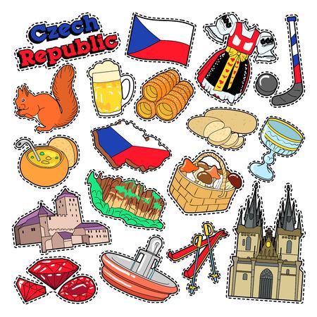Elementi di viaggio Repubblica ceca con architettura e cibo tradizionale. Doodle di vettore