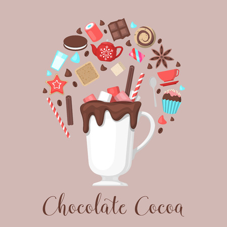 Chocolate Cocoa Drink Mug with Coffee Beans and Sweet Food. Vector illustration Ilustracja