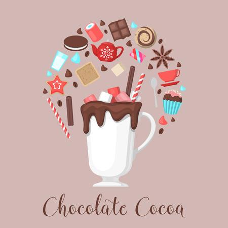 Schokoladen-Kakao-Getränk-Becher mit Kaffeebohnen und Kuchen und Süßwaren. Vektor-Illustration