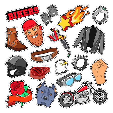 ring road: Bikers Elements with Chopper and Motorcycle for Prints, Stickers, Patches, Badges. Vector Doodle Illustration