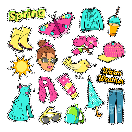 spring coat: Spring Woman Fashion with Clothes and Accessories for Badges, Stickers, Patches. Vector Doodle