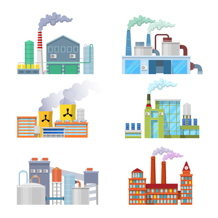 electricity company: Industrial Factory Buildings Architectural Set. Vector illustration