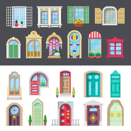 建築の詳細ウィンドウとドアのセット。ベクトル図