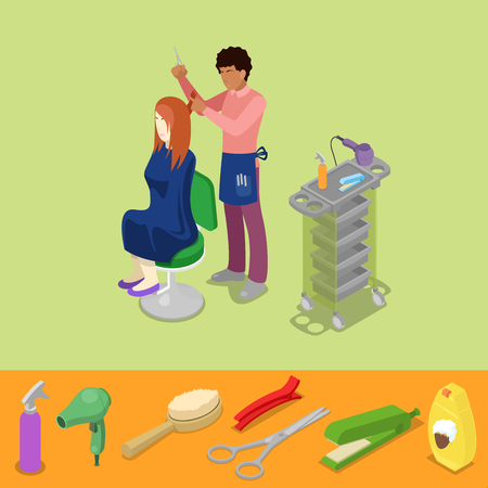 hairdo: Hair Beauty Salon Barber Makes Girl Hairstyle Isometric Concept. Vector 3d flat illustration