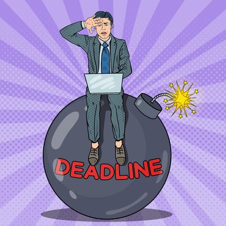 Pop Art Stressed Businessman Working on Dedline Bomb. Vector illustration