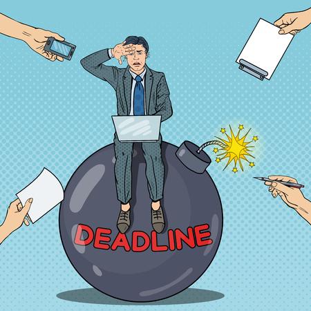 Pop Art Multi Tasking Businessman Working on Dedline Bomb. Vector illustration