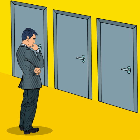 Pop Art Doubtful Businessman Choosing the Right Door. Vector illustration