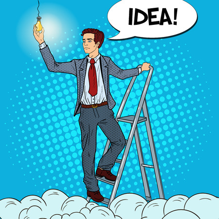 Pop Art Businessman with Ladder and Lightbulb in the Clouds. Vector illustration Illustration