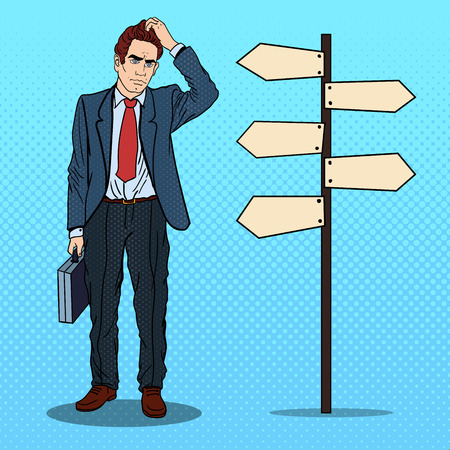 Pop Art Doubtfull Businessman on Crossroads Pointer Sign. Vector illustration