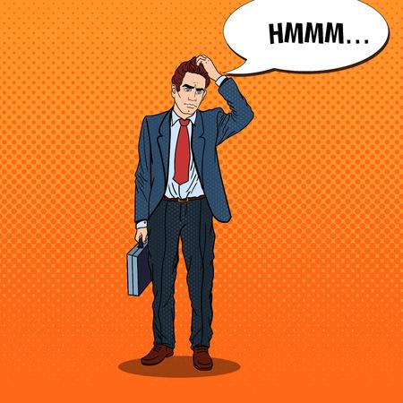 business skeptical: Pop Art Doubtfull Businessman with Briefcase. Vector illustration Illustration