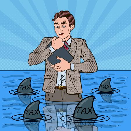 Pop Art Worried Helpless Businessman Swimming with Sharks. Vector illustration Ilustrace