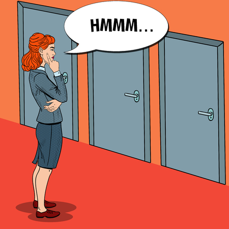 Pop Art Doubtful Businesswoman Choosing the Right Door. Vector illustration