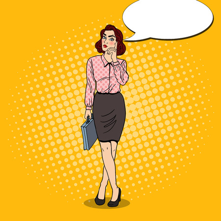 Pop Art Doubtfull Business Woman with Briefcase. Vector illustration