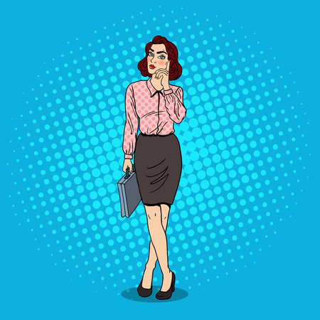 critical thinking: Pop Art Doubtfull Business Woman with Briefcase. Vector illustration