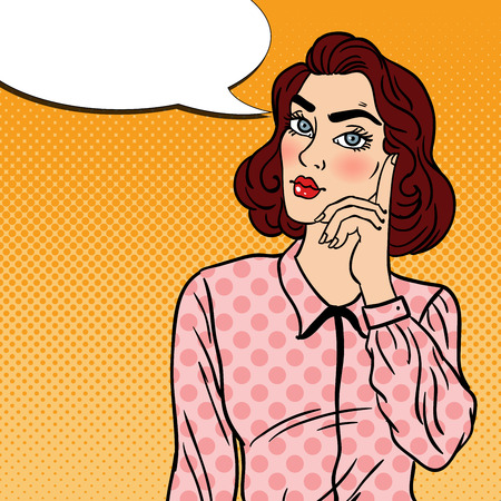 business skeptical: Pop Art Doubtfull Business Woman. Vector illustration