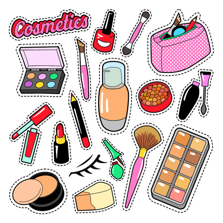 Cosmetics Beauty Fashion Makeup Elements with Lipstick and Mascara for Stickers, Badges, Patches. Vector doodle Illustration