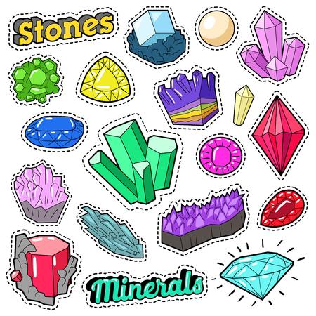 Joyaux Pierres et Minéraux Coloré pour Stickers, Badges, Patches. Doodle de vecteur