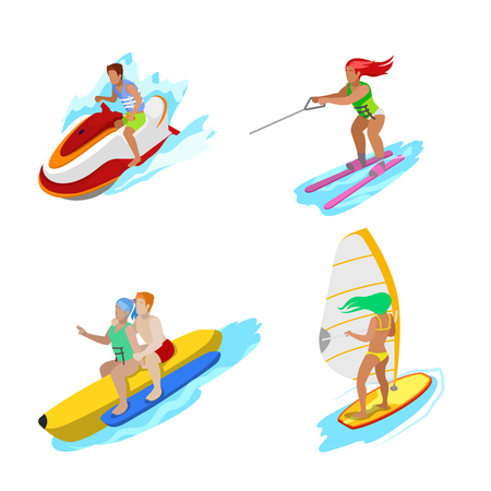 Isometric People on Water Activity. Woman Surfer, Water Skiing, Man Hydrocycle. Vector 3d flat illustration Illustration