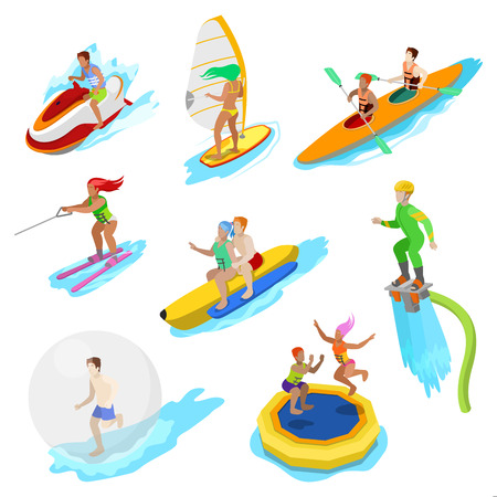 Isometric People on Water Activity. Woman Surfer, Kayaking, Man on Flyboard and Water Skiing. Vector 3d flat illustration