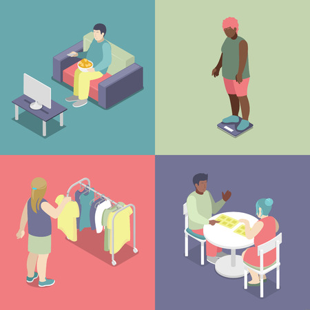 unhealthy eating: Isometric Fat People Set. Unhealthy Eating Concept. Vector 3d flat illustration
