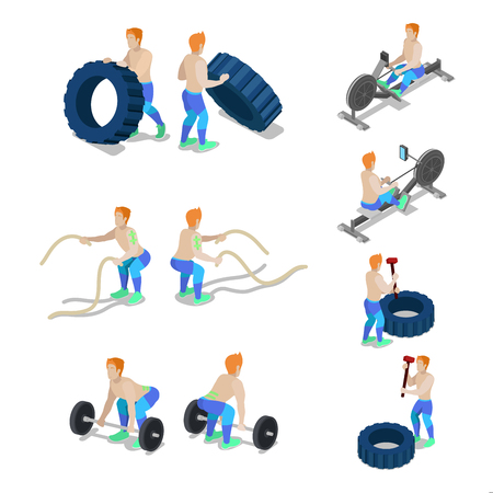 Isometric Sportsmen on Crossfit Gym Workout and Exercises. Vector 3d flat illustration