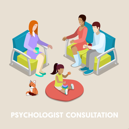 Isometric Psychologist Consultation. Family on Psychotherapy. Vector 3d flat illustration Illustration