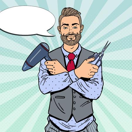 barber scissors: Pop Art Bearded Barber with Scissors and Hairdryer. Vector illustration Illustration