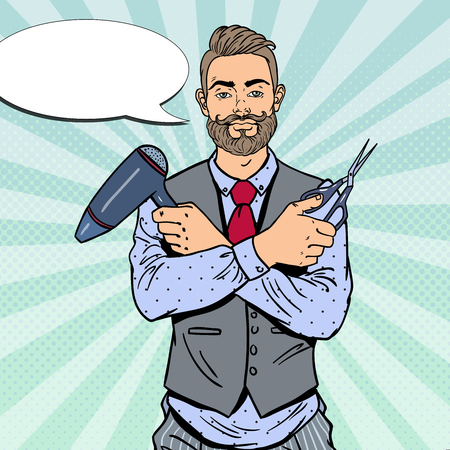Pop Art Bearded Barber with Scissors and Hairdryer. Vector illustration Illustration